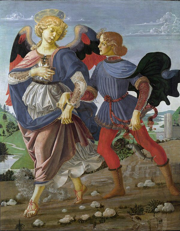 "Andrea del Verrocchio ""Tobias and the Angel"" Tobias-Leonardo da Vinci"